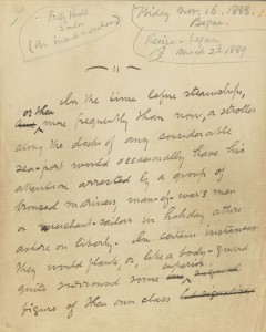 """Manuscript of """"Billy Budd"""" discovered by Raymond Weaver among papers left with Melville's granddaughter"""